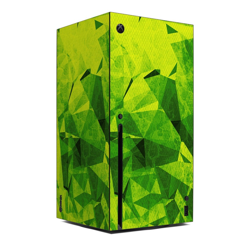 Xbox Series X Skin design of Green, Pattern, Leaf, Design, Illustration with green colors