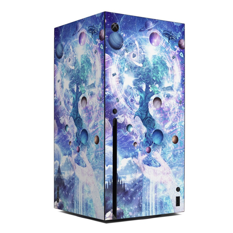 Xbox Series X Skin design of Bird, Butterfly, Planets, Deer, Space, Purple, World, Astronomical Object, Cg Artwork, Illustration, Universe, Painting, Fictional Character, Outer Space, Astronomy, Science, Water Feature, Graphic Design, Graphics, Star, Mythology with blue, purple, white, black, gray, green colors