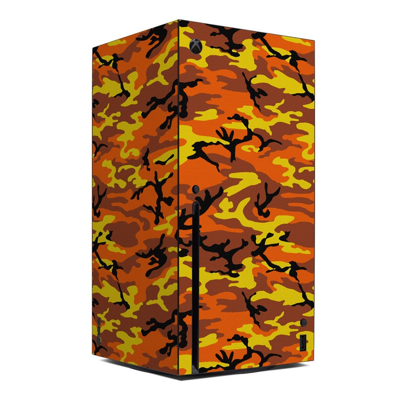 Xbox Series X Skin design of Military camouflage, Orange, Pattern, Camouflage, Yellow, Brown, Uniform, Design, Tree, Wildlife with red, green, black colors