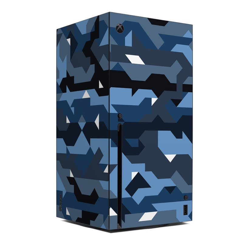 Xbox Series X Skin design of Blue, Pattern, Design, Font, Line, Camouflage, Illustration, Triangle with blue, black, white, gray colors