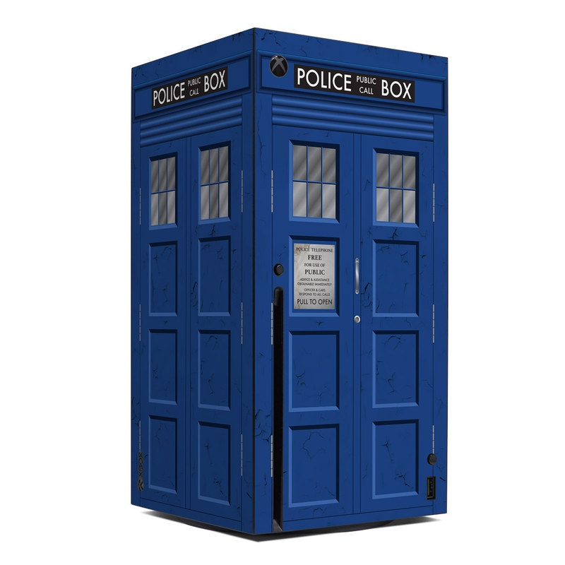 Xbox Series X Skin design of Telephone Booth, Blue, Cobalt Blue, Door, Facade, Architecture, Electric Blue, Font, Real Estate, Window, Building with blue, black, gray, white colors
