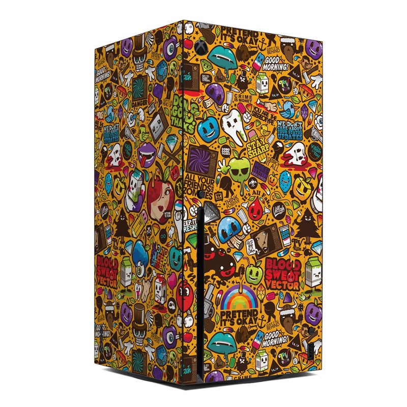 Xbox Series X Skin design of Pattern, Psychedelic art, Visual arts, Art, Design, Illustration, Graphic design, Doodle with black, green, red, gray, orange, blue colors
