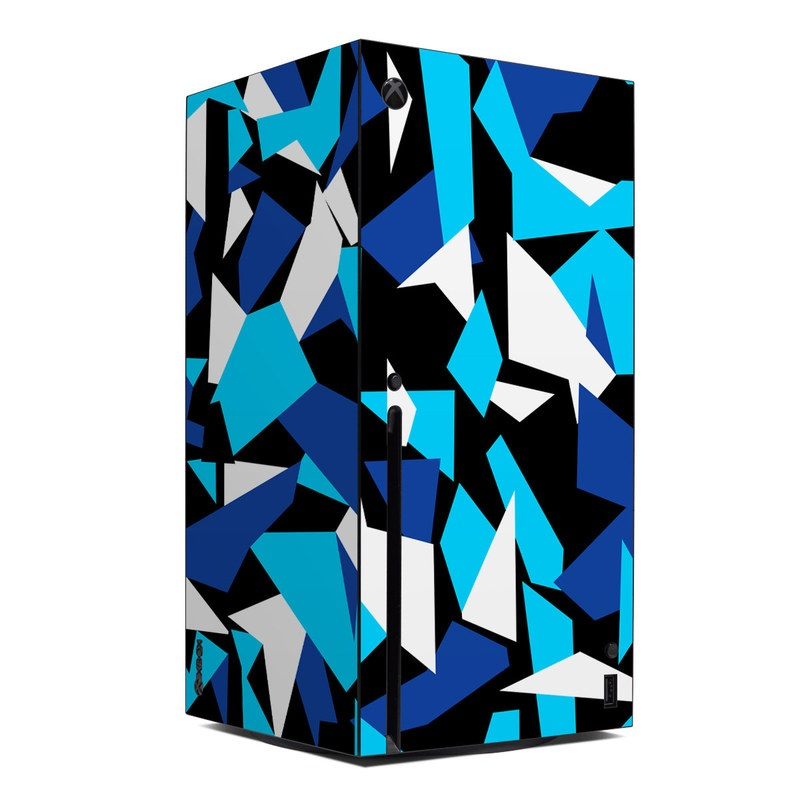 Xbox Series X Skin design of Blue, Pattern, Turquoise, Cobalt blue, Teal, Design, Electric blue, Graphic design, Triangle, Font with blue, white, black colors