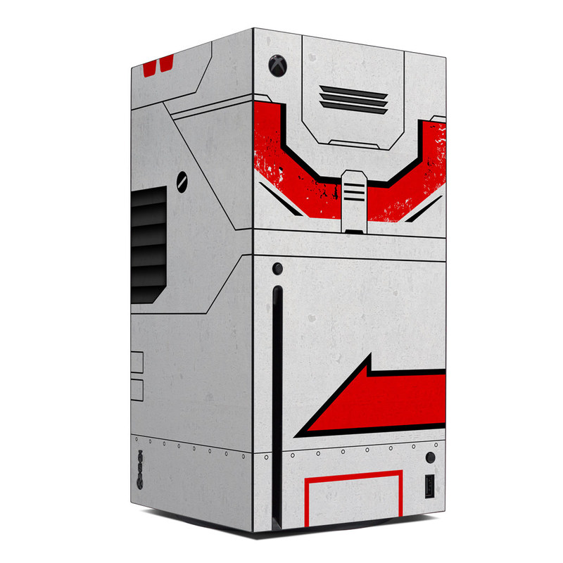 Xbox Series X Skin design of Floppy disk, Technology, Electric red, Fictional character with white, red, black, gray colors