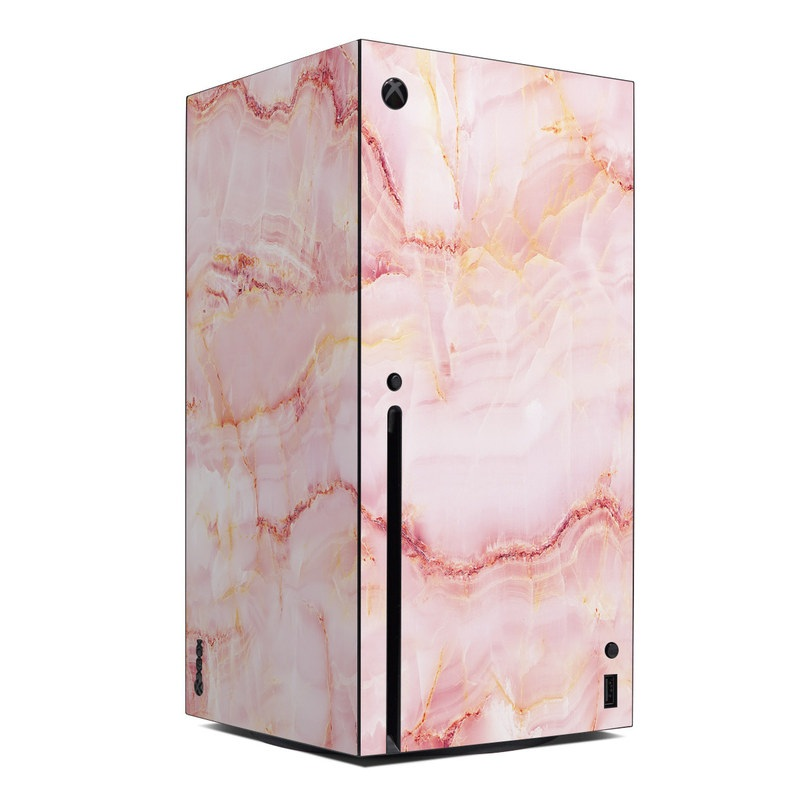 Xbox Series X Skin design of Pink, Peach with white, pink, red, yellow, orange colors