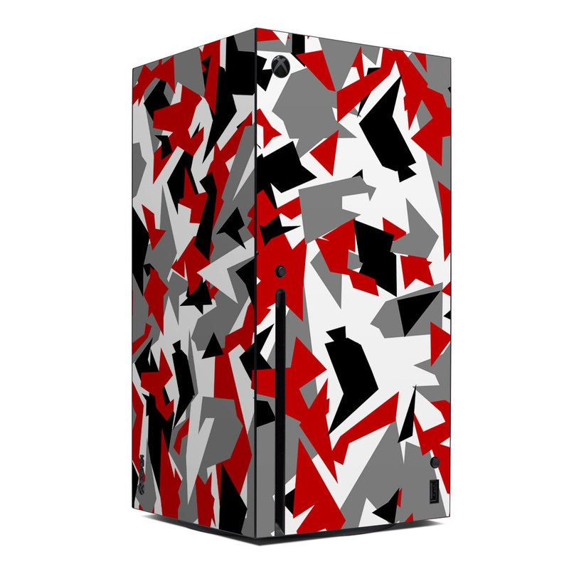 Xbox Series X Skin design of Red, Pattern, Font, Design, Textile, Carmine, Illustration, Flag, Crowd with red, white, black, gray colors