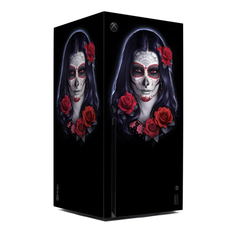 Xbox Series X Skin design of Face, Red, Head, Skull, Illustration, Bone, Font, Darkness, Ghost, Fictional character with black, gray, red, blue colors