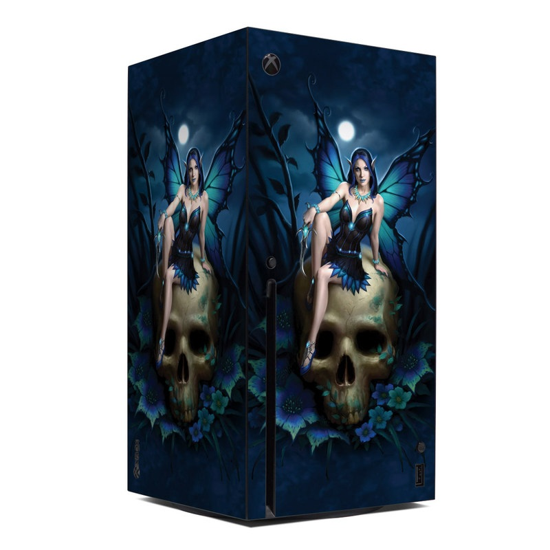 Xbox Series X Skin design of Cg artwork, Blue, Skull, Illustration, Darkness, Photography, Fictional character, Bone, Woman warrior, Graphics with black, gray, blue colors