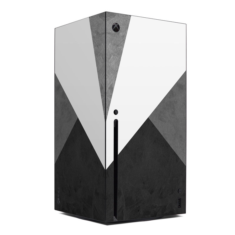 Xbox Series X Skin design of Black, White, Black-and-white, Line, Grey, Architecture, Monochrome, Triangle, Monochrome photography, Pattern with white, black, gray colors