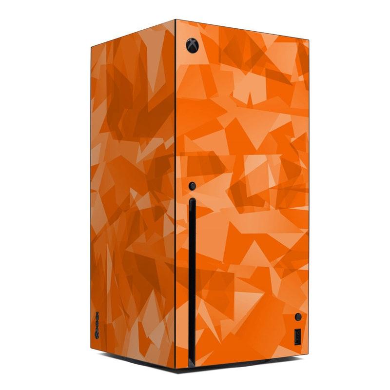 Xbox Series X Skin design of Orange, Pattern, Peach, Line, Design, Triangle with orange colors