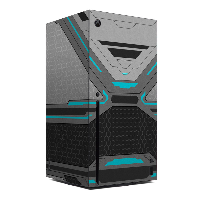 Xbox Series X Skin design of Blue, Turquoise, Pattern, Teal, Symmetry, Design, Line, Automotive design, Font with black, gray, blue colors