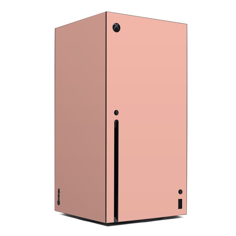Xbox Series X Skin design of Orange, Pink, Peach, Brown, Red, Yellow, Material property, Font, Beige with pink colors