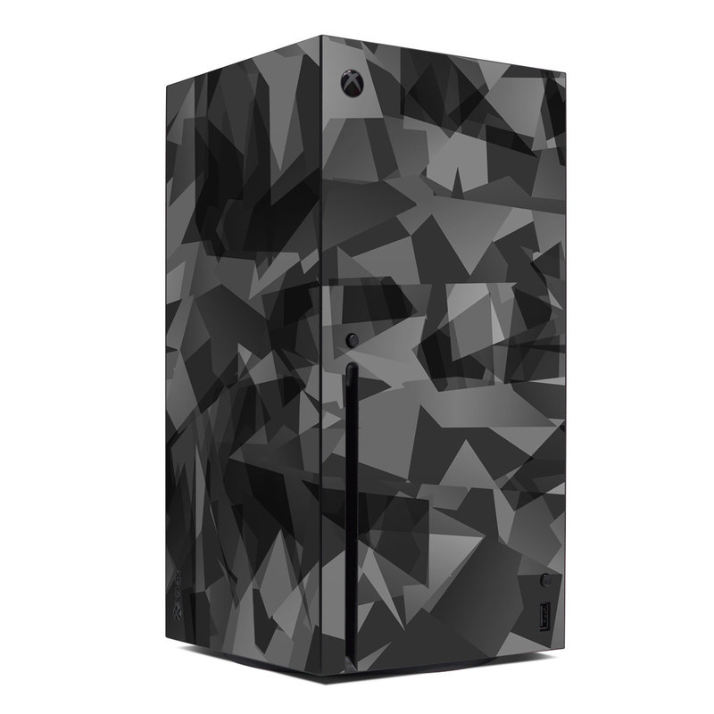 Xbox Series X Skin design of Black, Pattern, Triangle, Black-and-white, Monochrome, Grey, Design, Line, Architecture, Monochrome photography with black, gray colors