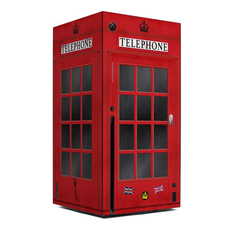 Xbox Series X Skin design of Red, Font, Building, Telephone Booth, Facade with red, black, gray, white, blue, yellow colors