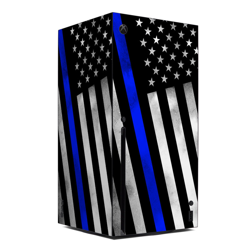 Xbox Series X Skin design of Flag of the united states, Flag, Cobalt blue, Pattern, Line, Black-and-white, Design, Monochrome, Electric blue, Parallel with black, white, gray, blue colors