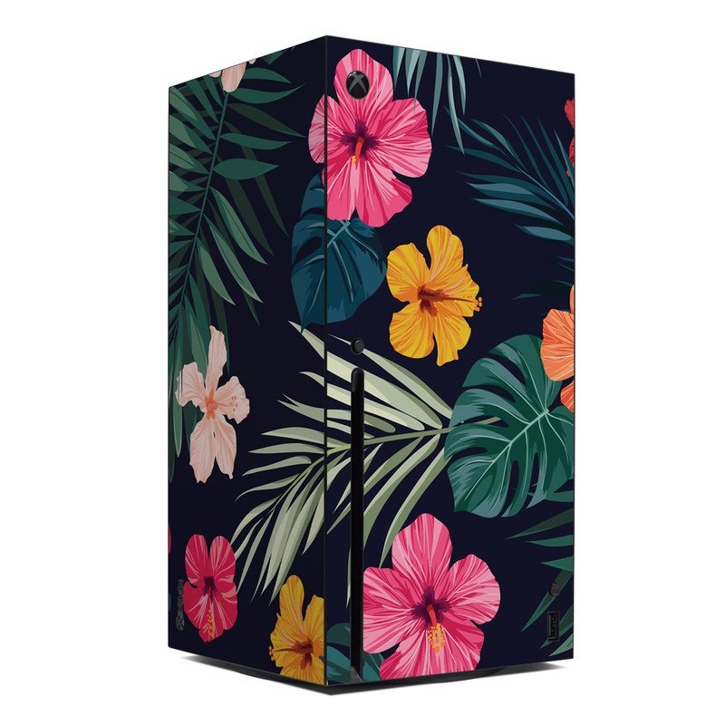 Xbox Series X Skin design of Hawaiian hibiscus, Flower, Pattern, Plant, Leaf, Floral design, Botany, Design, Hibiscus, Petal with black, green, red, pink, orange, yellow, white colors