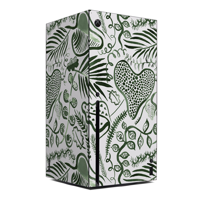 Xbox Series X Skin design of White, Botany, Leaf, Textile, Organism, Vegetation, Line, Art, Font, Pattern with white, green colors