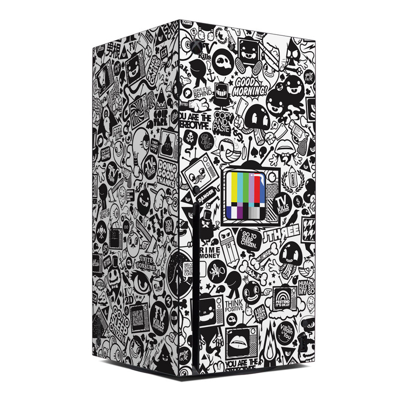 Xbox Series X Skin design of Pattern, Drawing, Doodle, Design, Visual arts, Font, Black-and-white, Monochrome, Illustration, Art with gray, black, white colors