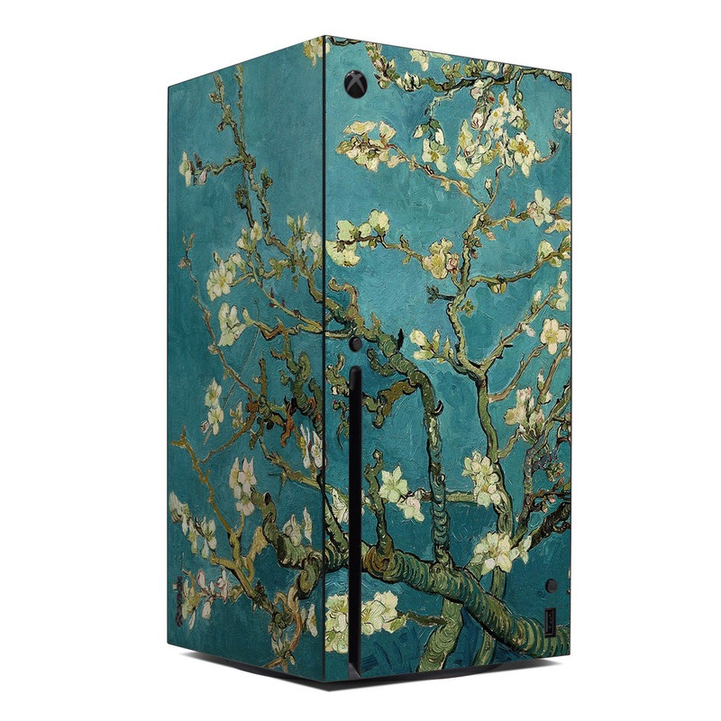 Xbox Series X Skin design of Tree, Branch, Plant, Flower, Blossom, Spring, Woody plant, Perennial plant with blue, black, gray, green colors