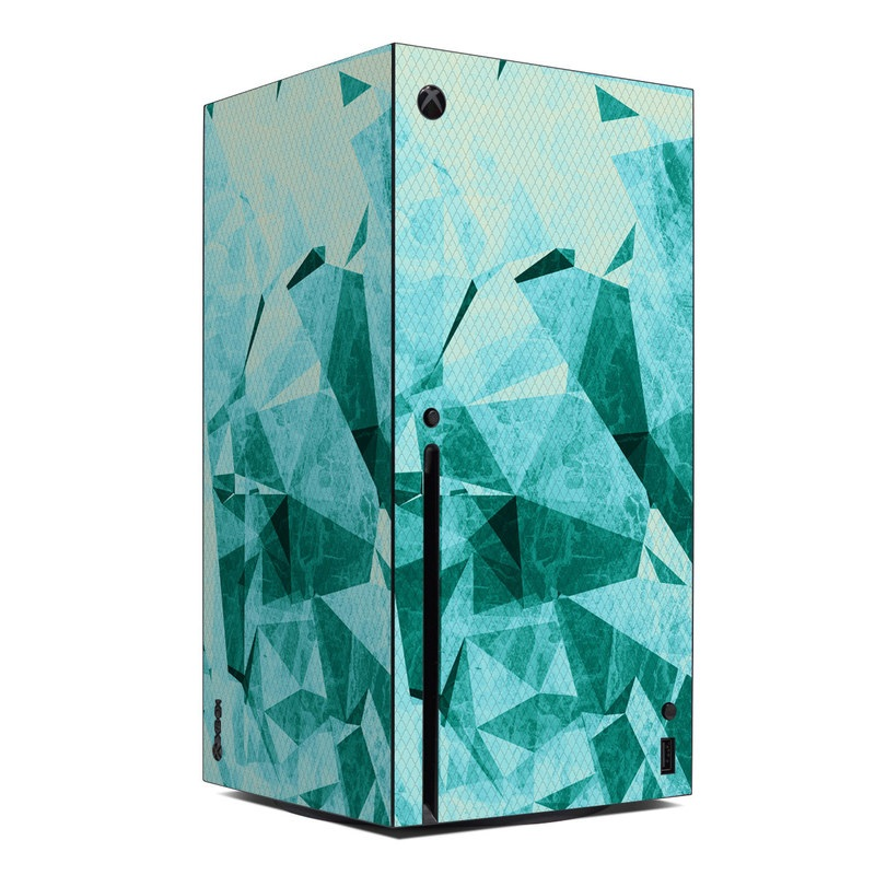 Xbox Series X Skin design of Aqua, Blue, Pattern, Turquoise, Illustration, Teal, Design, Line, Graphic design with blue colors