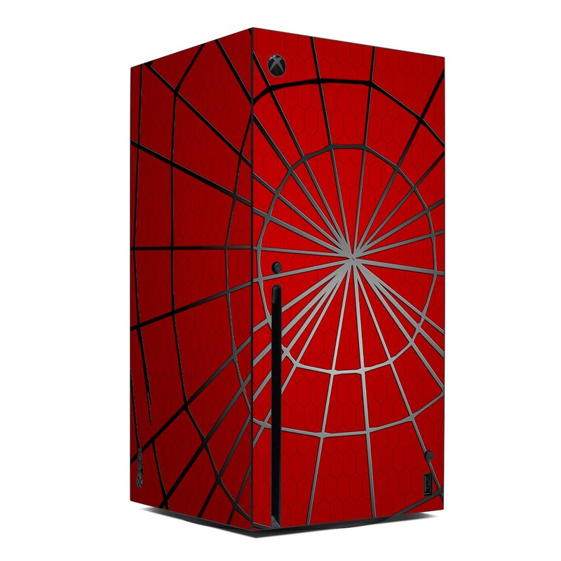 Xbox Series X Skin design of Red, Symmetry, Circle, Pattern, Line with red, black, gray colors