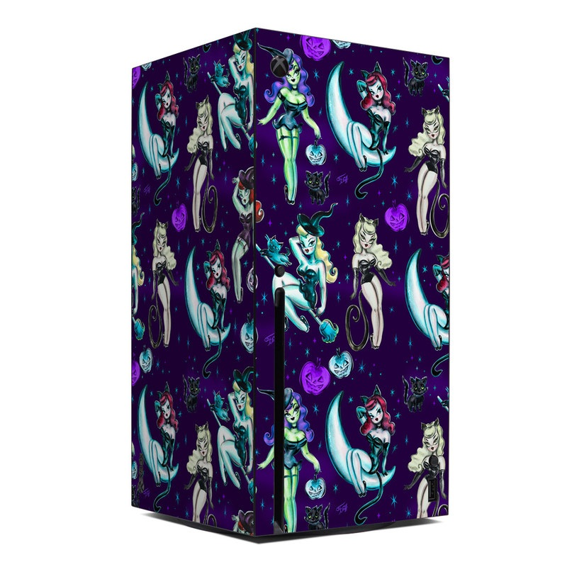 Xbox Series X Skin design of Illustration, Cartoon, Violet, Art, Fictional character, Graphic design, Fiction, Visual arts, Style, Graphics with blue, green, white, yellow, red, purple colors