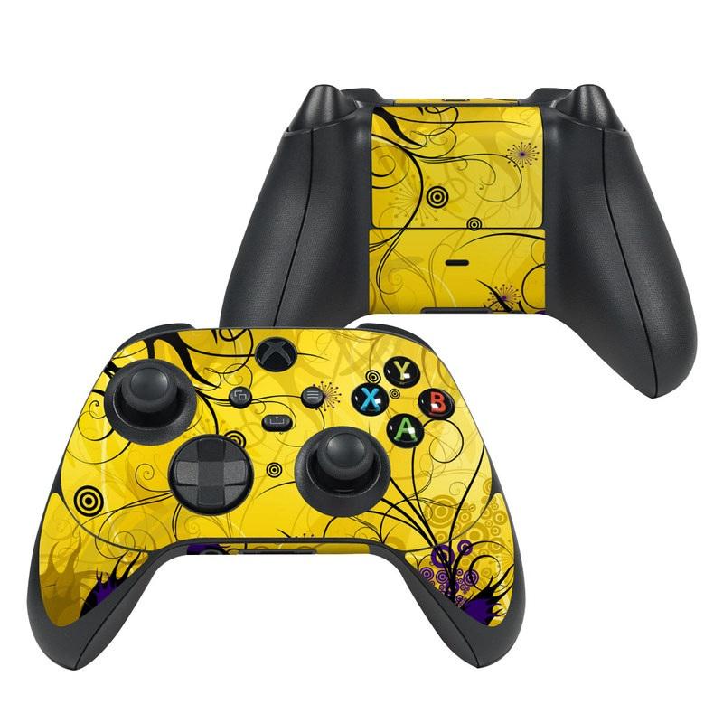Xbox Series X Controller Skin design of Yellow, Pattern, Floral design, Purple, Graphic design, Design, Wallpaper, Art, Illustration, Visual arts with orange, yellow, black, purple colors