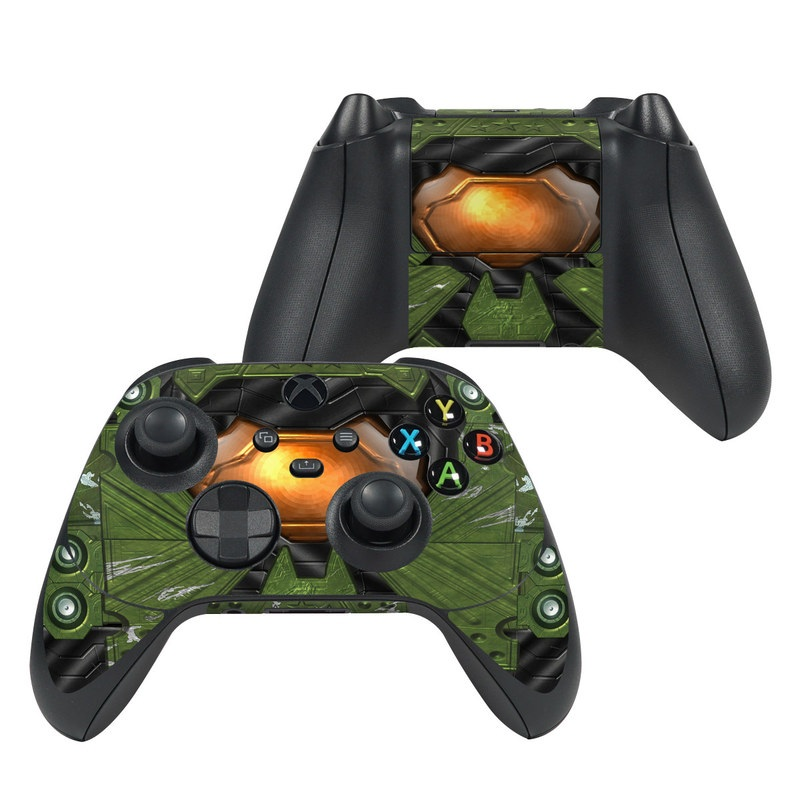 Xbox Series X Controller Skin design of Green, Fictional character, Games, Fiction, Pc game, Illustration, Strategy video game, Digital compositing, Art, Screenshot with green, yellow, orange, black colors