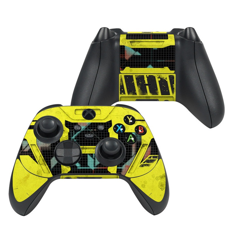 Xbox Series X Controller Skin design of Yellow, Green, Font, Pattern, Graphic design with black, yellow, gray, blue, green colors