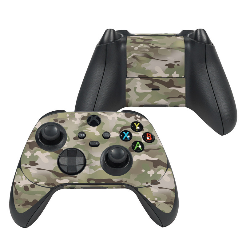 Xbox Series X Controller Skin design of Military camouflage, Camouflage, Pattern, Clothing, Uniform, Design, Military uniform, Bed sheet with gray, green, black, red colors