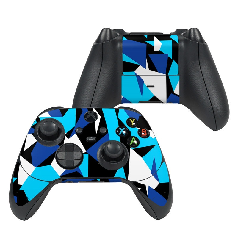 Xbox Series X Controller Skin design of Blue, Pattern, Turquoise, Cobalt blue, Teal, Design, Electric blue, Graphic design, Triangle, Font with blue, white, black colors