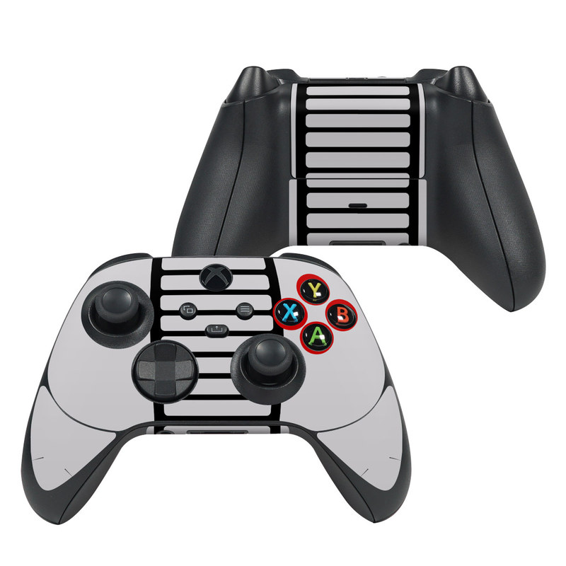 Xbox Series X Controller Skin design of Text, Font, Red, Product, Logo, Brand, Material property, Graphics, Rectangle with gray, black, red colors