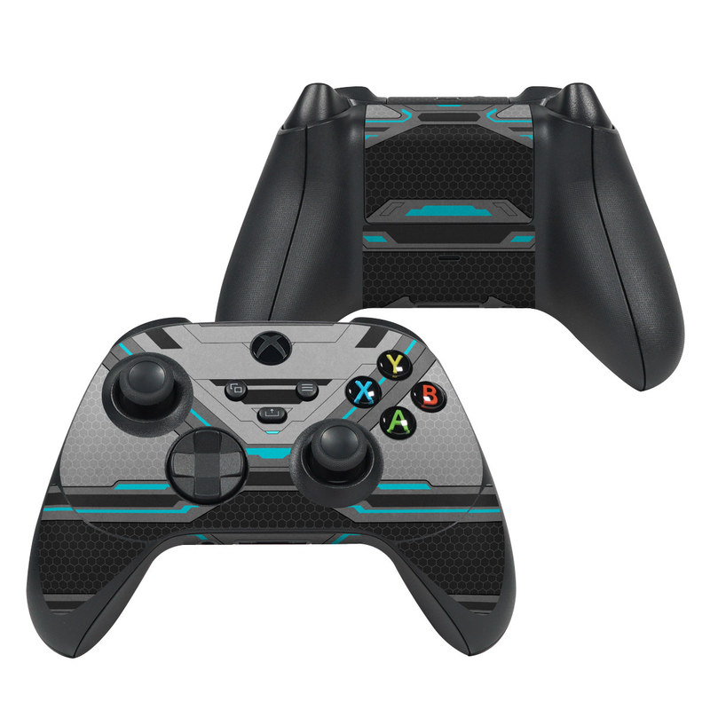Xbox Series X Controller Skin design of Blue, Turquoise, Pattern, Teal, Symmetry, Design, Line, Automotive design, Font with black, gray, blue colors