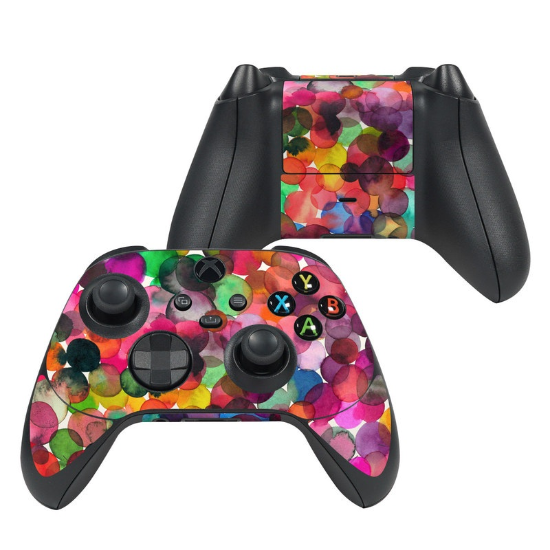 Xbox Series X Controller Skin design of Colorfulness, Fashion accessory with red, white, pink, purple, blue, green, black, yellow, orange colors