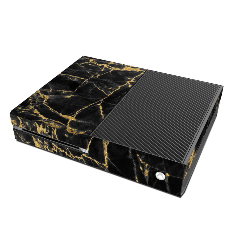 Xbox One Skin design of Black, Yellow, Water, Brown, Branch, Leaf, Rock, Tree, Marble, Sky with black, yellow colors