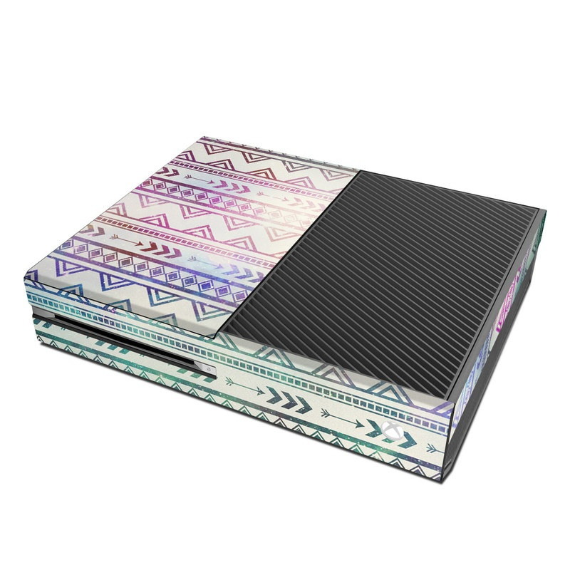 Xbox One Skin design of Pattern, Line, Teal, Design, Textile with gray, pink, yellow, blue, black, purple colors