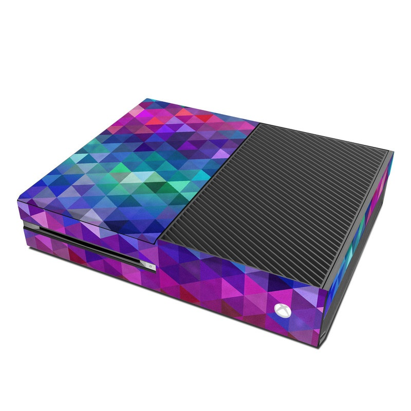 Xbox One Skin design of Purple, Violet, Pattern, Blue, Magenta, Triangle, Line, Design, Graphic design, Symmetry with blue, purple, green, red, pink colors