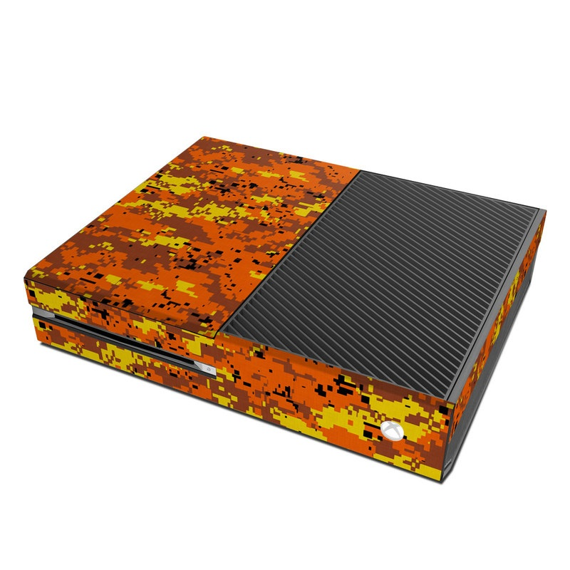 Xbox One Skin design of Orange, Yellow, Leaf, Tree, Pattern, Autumn, Plant, Deciduous with red, green, black colors