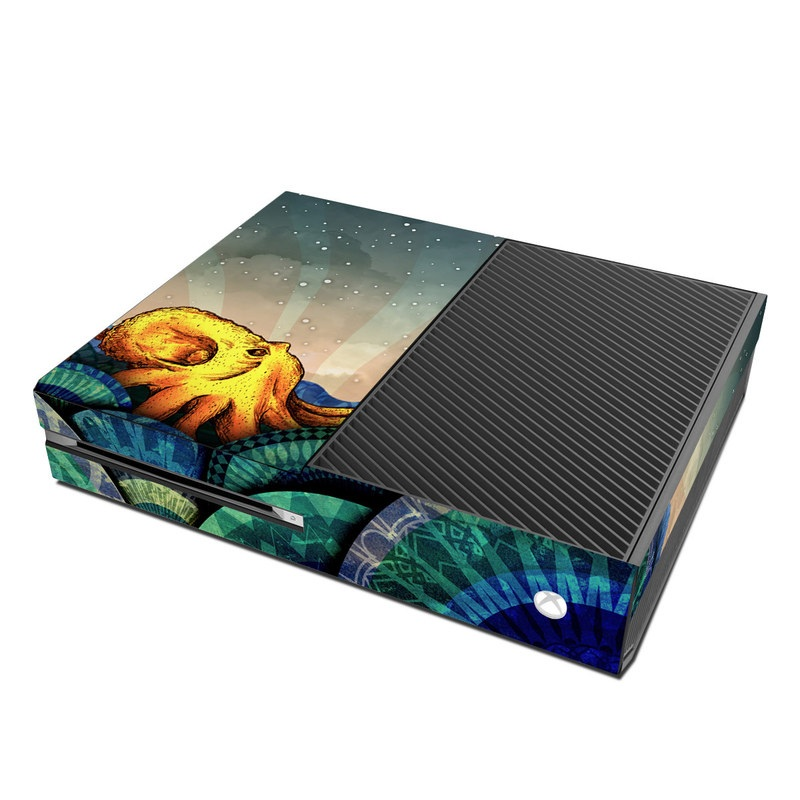 Xbox One Skin design of Illustration, Fractal art, Art, Cg artwork, Sky, Organism, Psychedelic art, Graphic design, Graphics, Octopus with black, gray, blue, green, red colors