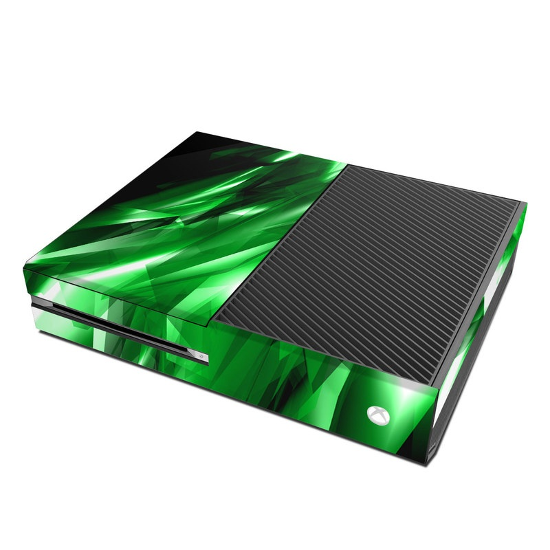 Xbox One Skin design of Green, Light, Lighting, Leaf, Design, Technology, Space, Graphics, Graphic design, Illustration with black, green, white colors