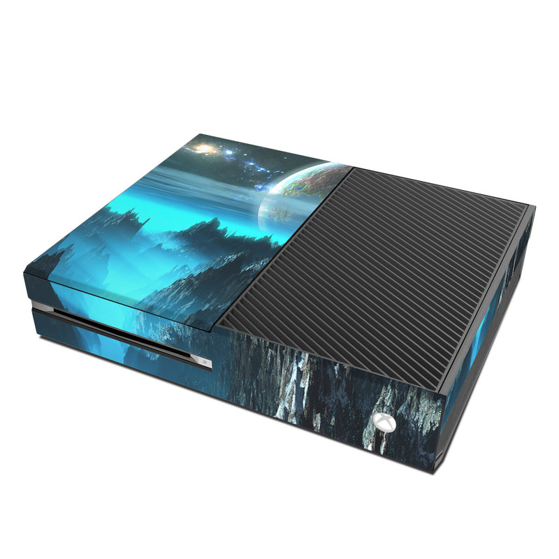 Xbox One Skin design of Space, Astronomical object, Sky, Earth, Atmosphere, Planet, World, Outer space, Cg artwork, Screenshot with black, blue, gray, yellow, orange colors