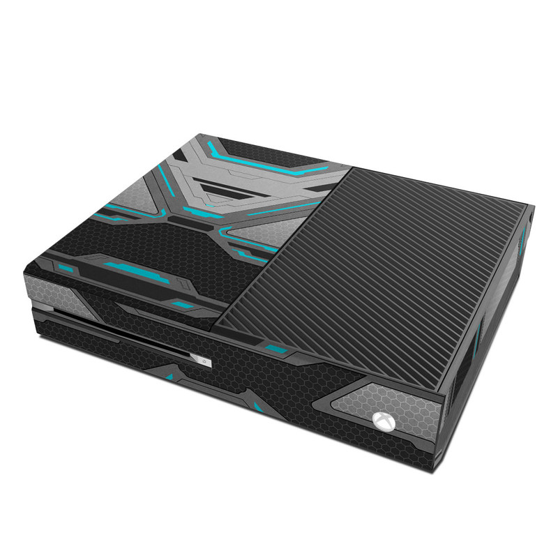 Xbox One Skin design of Blue, Turquoise, Pattern, Teal, Symmetry, Design, Line, Automotive design, Font with black, gray, blue colors