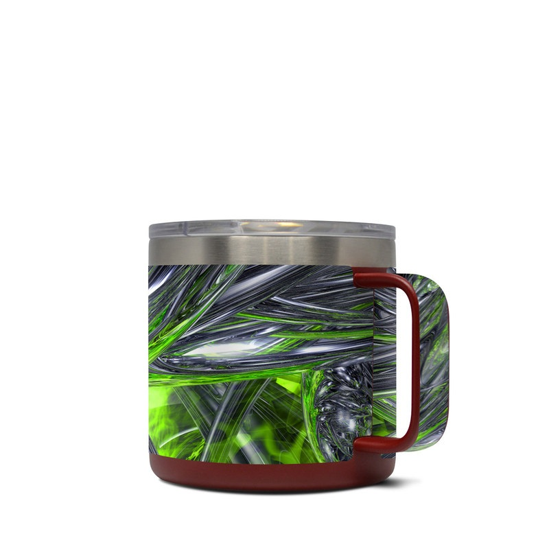 Yeti Rambler Mug 14oz Skin design of Green, Tree, Leaf, Plant, Grass, Terrestrial plant, Botany, Woody plant, Arecales, Vascular plant with green, gray, black colors