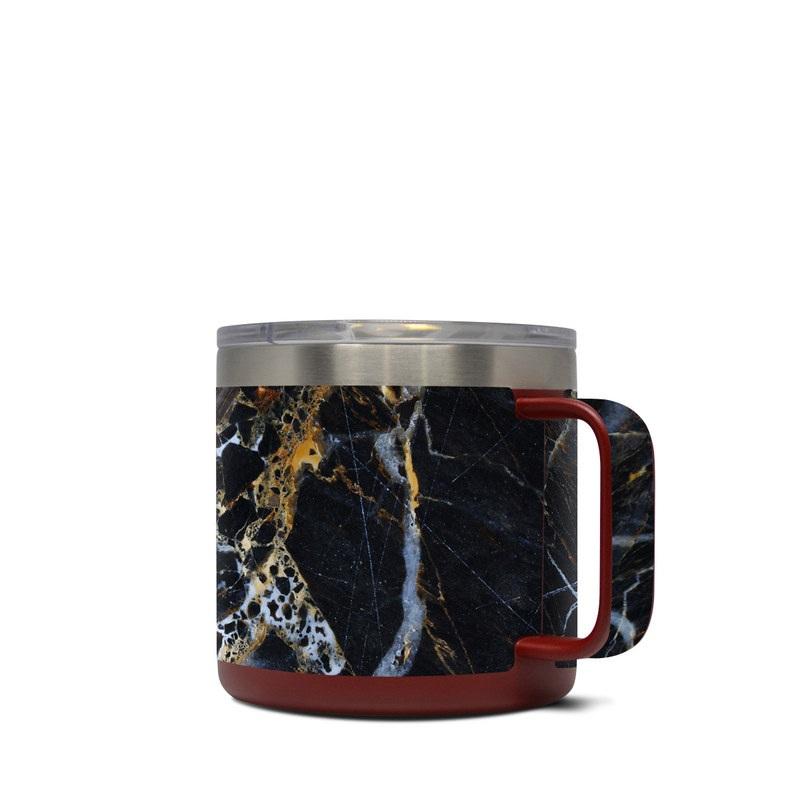 8860747704c Yeti Rambler Mug 14oz Skin design of Black, Yellow, Rock, Brown, Marble