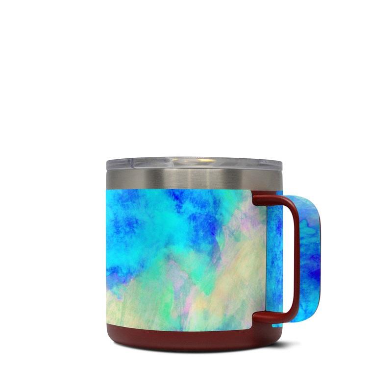 Yeti Rambler Mug 14oz Skin design of Blue, Turquoise, Aqua, Pattern, Dye, Design, Sky, Electric blue, Art, Watercolor paint with blue, purple colors