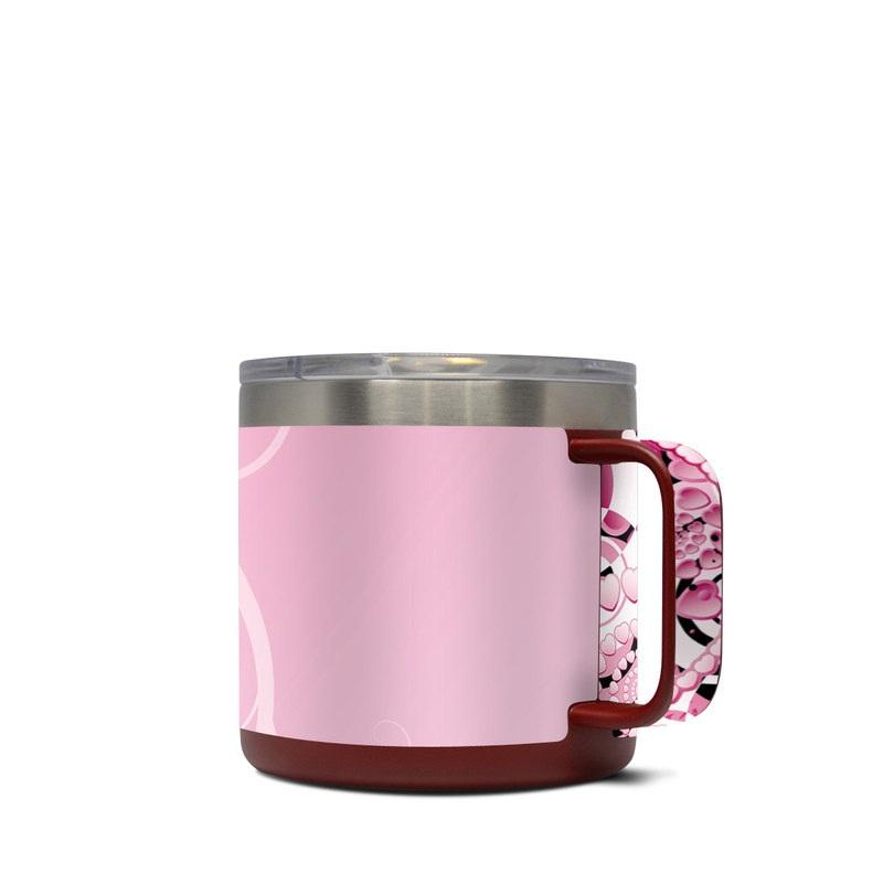 Yeti Rambler Mug 14oz Skin design of Pink, Floral design, Graphic design, Text, Design, Flower Arranging, Pattern, Illustration, Flower, Floristry with pink, gray, black, white, purple, red colors