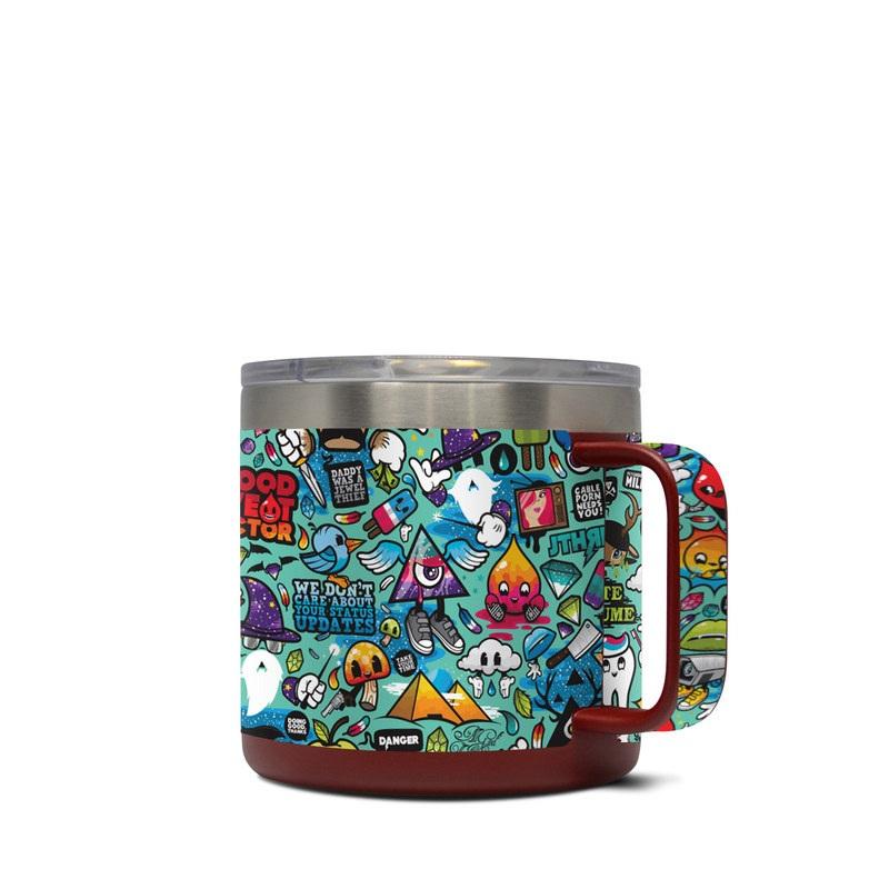 Yeti Rambler Mug 14oz Skin design of Cartoon, Art, Pattern, Design, Illustration, Visual arts, Doodle, Psychedelic art with black, blue, gray, red, green colors
