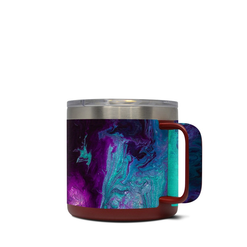 Yeti Rambler Mug 14oz Skin design of Blue, Purple, Violet, Water, Turquoise, Aqua, Pink, Magenta, Teal, Electric blue with blue, purple, black colors