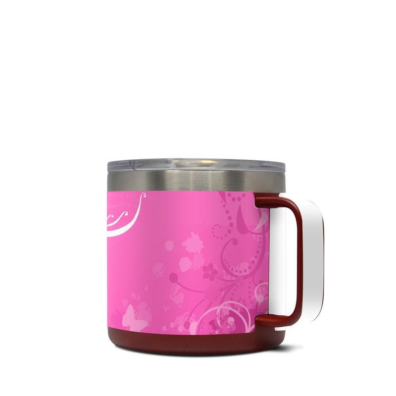 Yeti Rambler Mug 14oz Skin design of Pink, Pattern, Magenta, Design, Visual arts, Wallpaper, Paisley, Floral design, Ornament, Motif with pink, white, purple colors