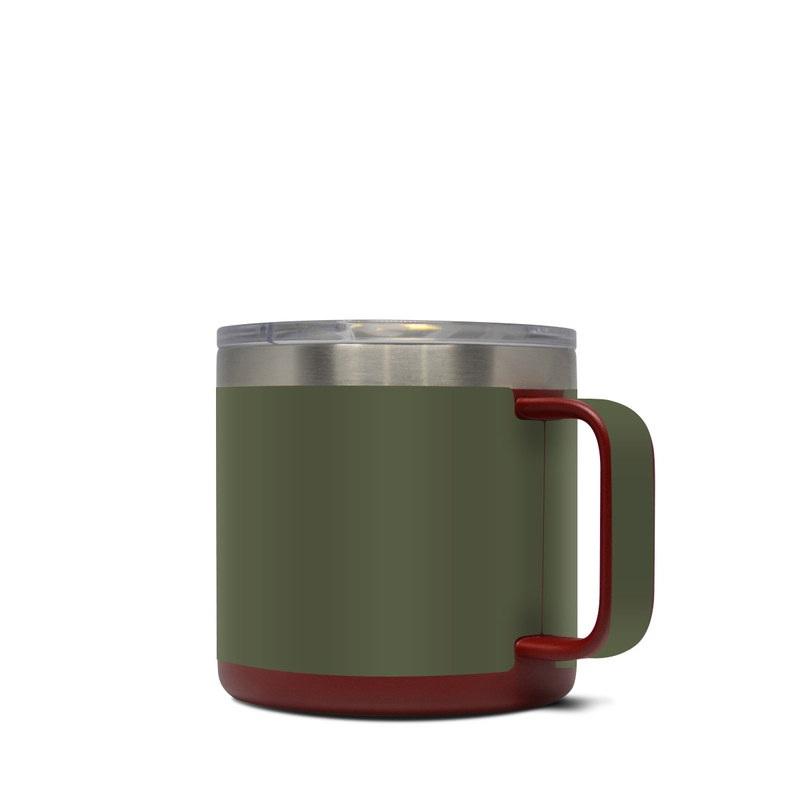 Yeti Rambler Mug 14oz Skin design of Green, Brown, Text, Yellow, Grass, Font, Pattern, Beige with green colors